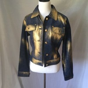 Wilsons Leather Maxima suede navy jacket with gold